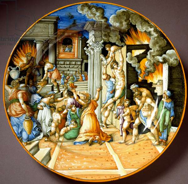 Enee and his father Anchise during the Trojan fire Ceramic plate produced in Urbino, Italy. 1560 around Florence, Museo Nazionale del Bargello - Aeneas and his father Anchises during the burning of Troy. Ceramic plate from Urbino. Circa 1560. National Museum of Bargello, Florence, Italy