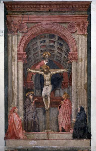 The Trinity God, Jesus Christ crucifies surrounds Saint John and the Virgin with two donors - Fresco, 1425