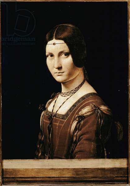 The beautiful Ferronniere. Painting by Leonardo da Vinci (Leonard de Vinci) (1452-1519). 1490. Musee du Louvre, Paris.