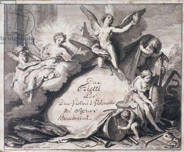 """Frontispiece of musical score of """"Due trietti per due violini e violoncello"""" by Luigi Boccherini"""