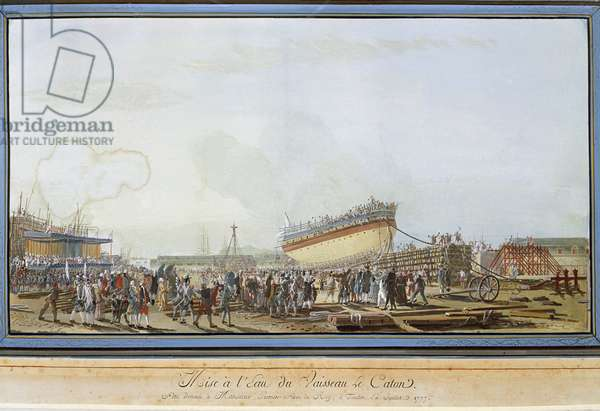 The launch of the ship Le Caton in the harbour of Toulon in the presence of the Count of Provence in July 1777 (Gouache, 18th century)