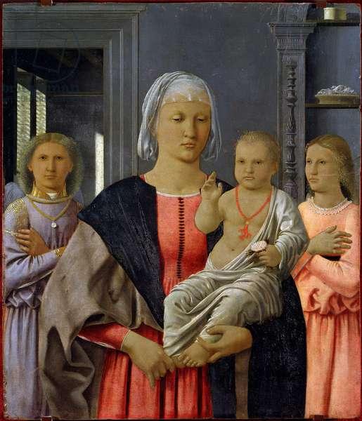 """Madonna di Senigallia or """""""" Madonna a Child with Two Angels"""""""" Painting by Piero della Francesca (1419/21-1492) 1480. Dim: 52 x 58 cm. Urbino (Urbin), Galleria nazionale delle Marche."""