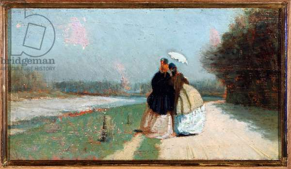Lungo l'Arno Two ladies walking on the banks of the river Arno, in the region of Florence - Painting by Giuseppe Abbati (1836-1868) (Macchiaioli) Dim 9,5x 10,7 cm (The riverbanks of Arno, painting of Giuseppe Abbati, school of Macchiaioli) Firenze, Galleria d'Arte Moderna