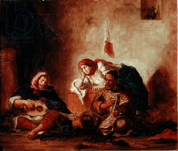 "Orientalism: """" Jewish Musicians of Mogador, Morocco"""" Painting by Eugene Delacroix (1798-1863) 19th century Sun. 046x0,55 m Paris, Musee du Louvre"