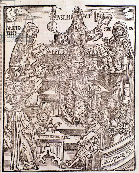 Branches of knowledge represented by  Aristotle (top left) represents Natural Philosophy, with Seneca representing Moral Philosophy on the right, the Emperor Justinian (top centre). The woman in the centre has a sword and a flowering branch issuing from her mouth (woodcut, 1508)