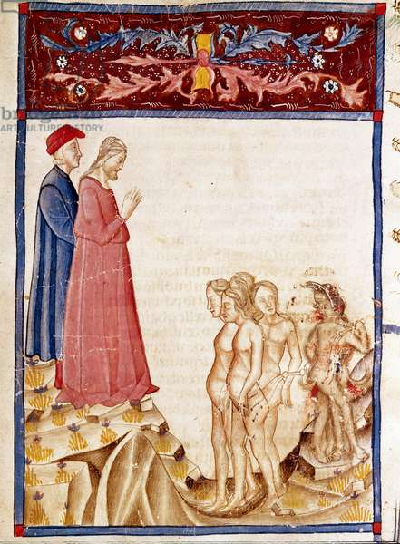 """Circle of Traitors: Dante and Virgil meet the souls of the traitors of benefactors. Illuminated page illustrating the 34th song of Hell draws from the """"Divina Commedia"""" by Dante Alighieri (1265-1321). 14th century, Venice, Biblioteca Marciana"""