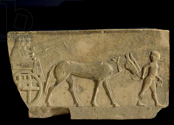 Fragmentary slab of a frieze with a procession of worship scene, from Metaponto, urban sanctuary