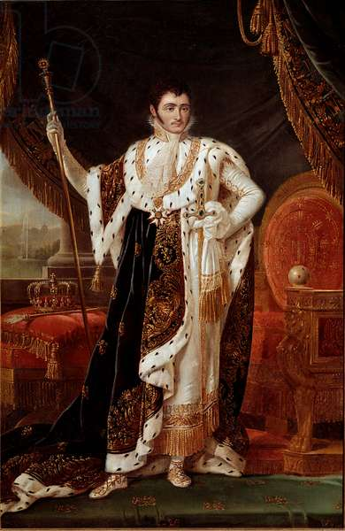 Portrait of Jerome Bonaparte, king of Westphalia, in front of the gardens of Wilhelmshohe, 19th century (oil on canvas)