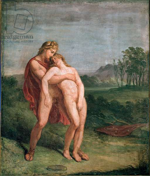 Apollo and Hyacinthos (Hyacinthe) Fresco by Andrea Appiani (1754-1817) Dim. 116x100 cm Milan, Pinacoteca di Brera