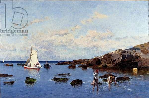 Beach View near Genes, Italy (View of the riviera, Genoa, italy) Painting by Serafin Avendano Martinez (ca. 1838-1916) 1881 Dim 85x132 cm Genes, Galleria d'Arte Moderna
