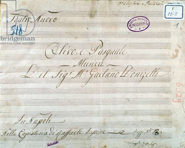 First page of musical score from the opera 'Olivo e Pasquale', by Gaetano Donizetti (ink on paper)