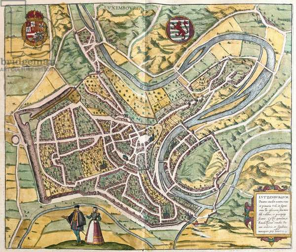 """Lutzenburgum (Luxembourg), 1541 - in volume III (published in 1581) of """""""" Civitates Orbis Terrarum"""""""" published in six parts between 1572 and 1617 by Georg Braun (1541-1622) and Frans Hogenberg (1535-1590)"""