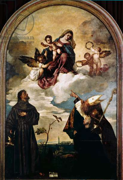 Madonna in glory with Child, Saints Francis and Alvise and the donor Luigi Gozzi, 1520 (oil on board)