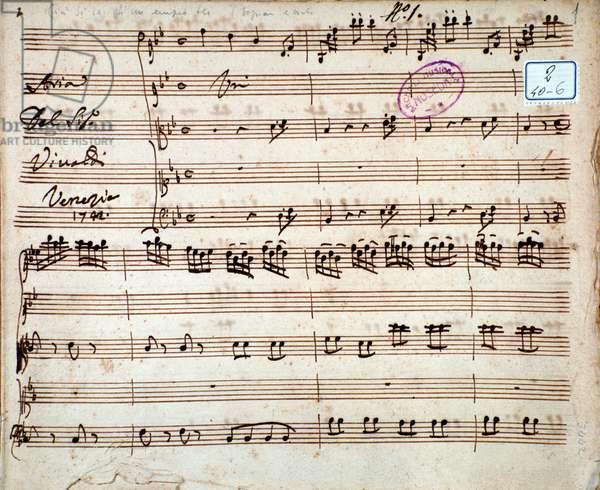 """Sheet music for the aria """""""" Gia si sa ch'un ampio fu"""""""" by Italian composer Antonio Vivaldi (1678-1741) 1792 - Page of musical score of """""""" Gia si sa ch'un ampio fu"""""""""""" aria by italian composer Antonio Vivaldi, 1792 - Milan, biblioteca del conservatorio"""