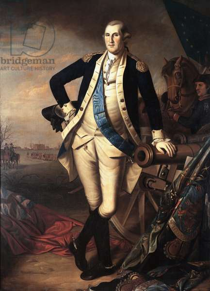 """Portrait of George Washington (1732-1799) after the Battle of Princeton, January 3, 1777"""""""" Painting by Charles Peale (1741-1827) 1779 Sun. 2,35 x 1,55 m Versailles, Musee du chateau - Full-length portrait of George Washington (1732-1799) after the Princeton Battle, 1777. Painting by Charles Peale (1741-1827) 1779. 2.35 x 1.55 m. Castle Museum, Versailles, France"""
