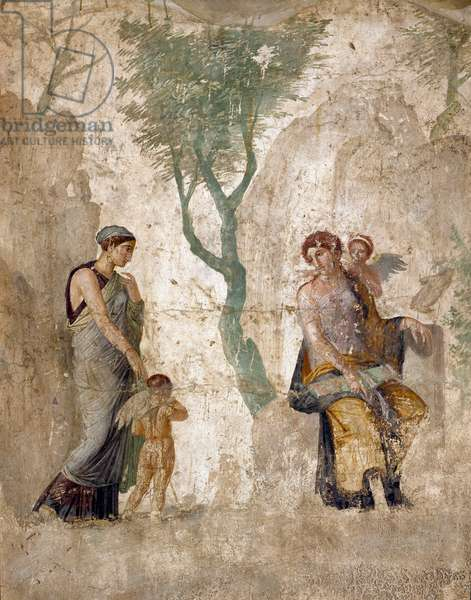 """Roman Art: """""""" Eros punished, in the presence of Aphrodite"""""""""""" Fresco from Pompei, casa dell'amor punito. 1st century. Naples, Museo Archeologico Nazionale - Roman art: Eros punished in the presence of Aphrodite. Fresco from House of Love Punished, Pompeii, 1st century. National Archaeological Museum, Naples, Italy"""