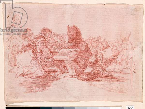 "War Destres: ""This is the worst"""". Representation of the supporters of the monarchy of Ferdinand VII of Spain as animals. Preparation drawing in red pencil for etching n.74 by Francisco de Goya y Lucientes (1746-1828). 1810-1812. Madrid. Prado Museum"