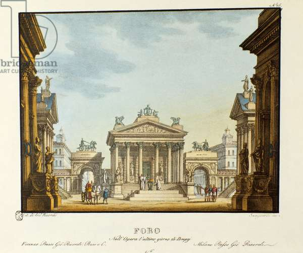 "View of the Forum Scenography for the representation of the opera ""L'Ultimo Giorno di Pompei"" (The Last Day of Pompei) by Giovanni Pacini. Lithography in """" Raccolta di invenzioni sceniche del 1830 di Alessandro Sanquirico (1777-1849)"""". Milanese private collection."