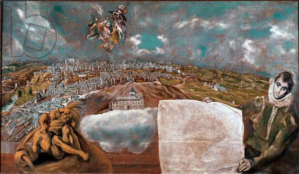 View of the City of Toledo (Toledo) in Spain and the plane below right Painting by Domenikos Theotokopoulos dit El Greco (1541-1614) 1608-1614 Sun. 132x228 cm Toledo Museum of Greco