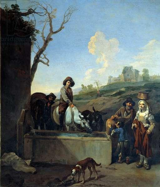 The Water Bowl Painting by Michelangelo Cerquozzi (Michelangelo delle Battaglie) (1602-1660), 1648 Dim. 51x45 cm Rome, Galleria Nazionale d'Arte Antica, Palazzo Corsini