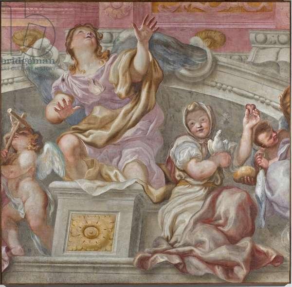 Group of Virtu: Faith, Desire towards God, Sincerity, Carita, 1683-84 (detached fresco)