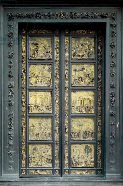 Gate of Paradise, realized by Ghiberti Lorenzo (1378-1443), 1425-1452 (low relief in gold bronze)