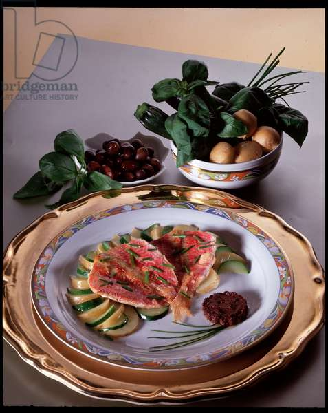 Diet: still life de fillets de mullet à la tapenade - (Food still life, red mullet with olive sauce) Italy