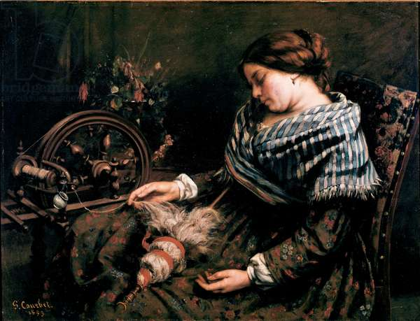 The Sleeping Spinner Painting by Gustave Courbet (1819-1877) 1853 Dim. 91x115 cm Montpellier, Musee Fabre