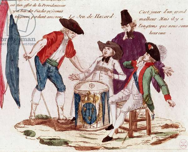 French revolution: le jeu du chance - Game of chance played by the Three Estates (clergy, tiers-etat and nobility), French revolutionary satirical engraving, late 18th century Paris musee Carnavalet