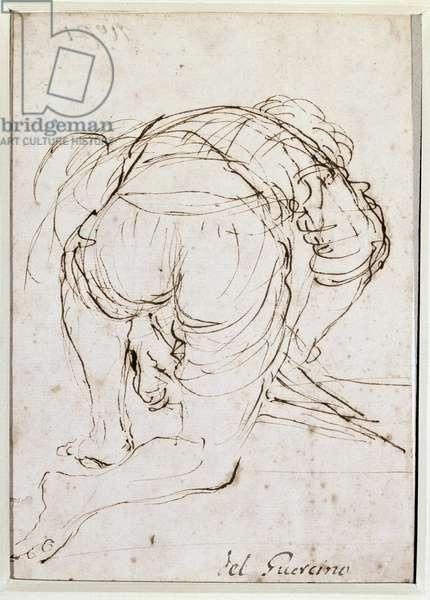 Man kneeling - Pencil drawing by Barbieri Giovanni Francesco dit Le Guerchin (1591-1666). Milano, Pinacoteca di Brera