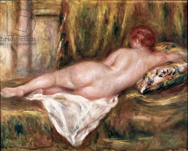 Naked layer seen from back or rest after bath (oil on canvas, 1909)