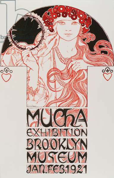 "Advertising poster by Alphonse Mucha (1860-1939) for ""Mucha Exhibition, Brooklyn Museum"", 1921 - Advertising poster by Alphonse Mucha for Mucha exhibition at the Brooklyn museum in New York, 1921 Dim 31,5x48 cm - Private collection"