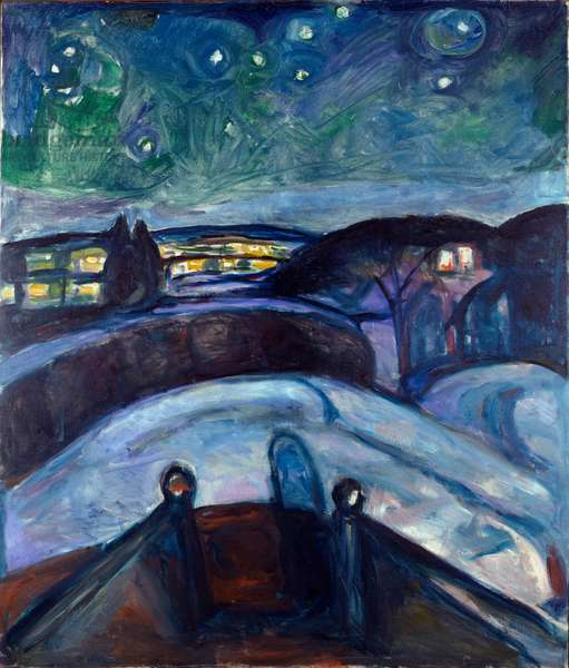 Star Night Night Landscape in Northern Europe. Painting by Edvard Munch (1863-1944) 1923-1924 Sun. 139x119 cm Oslo, Kommunes Kunstsamlinger Munch-Museet (Musee Munch)