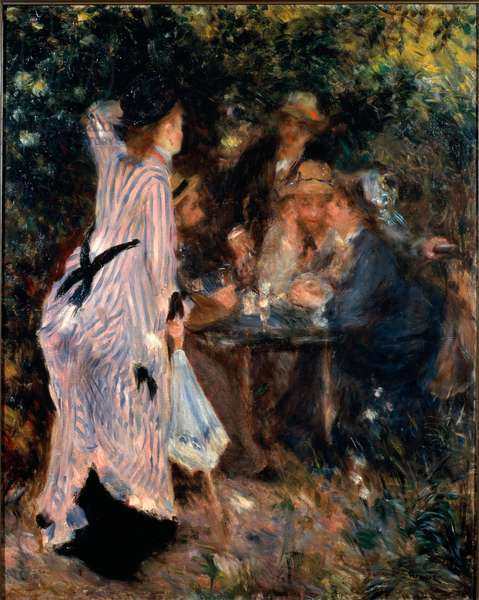 Under the arbor. Portraits of painters Claude Monet, Alfred Sisley and Norbert Goeneutte. Painting by Pierre Auguste Renoir (1841-1919), 1876. Impressionist art. Oil on canvas. Dim: 81x65cm. Moscow, Pushkin Museum