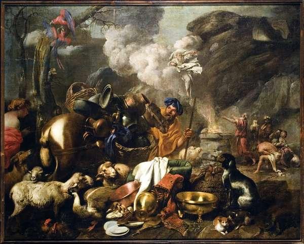 The Sacrifice of Noe after the Deluge Painting by Giovanni Benedetto Castiglione dit il Grechetto (1610-1665) 17th century Genes, Musei di Strada Nuova