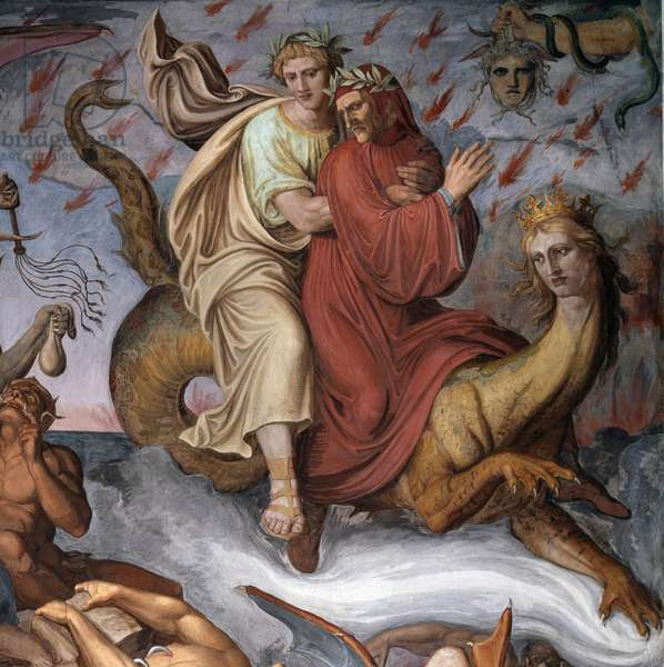 "Dante and Virgil - """" the hell"""" (The hell from Dante's """" The Divine Comedy"") Illustration of """" The Divine Comedy"""" (La Divina Comedy) by Dante Alighieri - Detail - Fresco by Joseph Anton Koch (1768-1839) Rome Casino Massimo"
