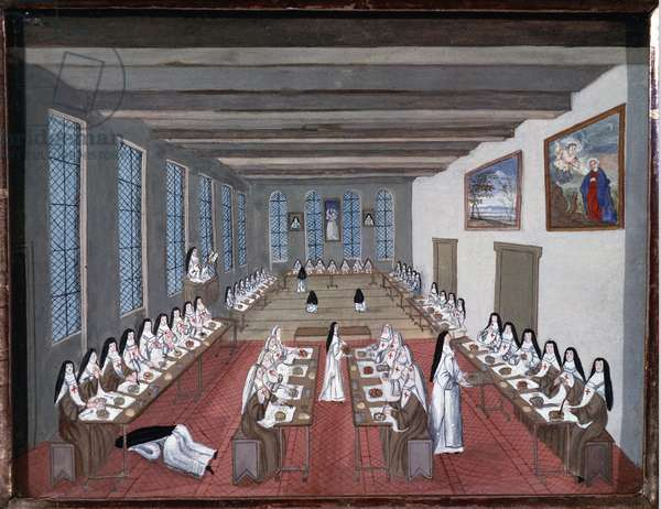 Nuns in the refectory of Abbey of Port-Royal-des-Champs (Gouache, 18th century)