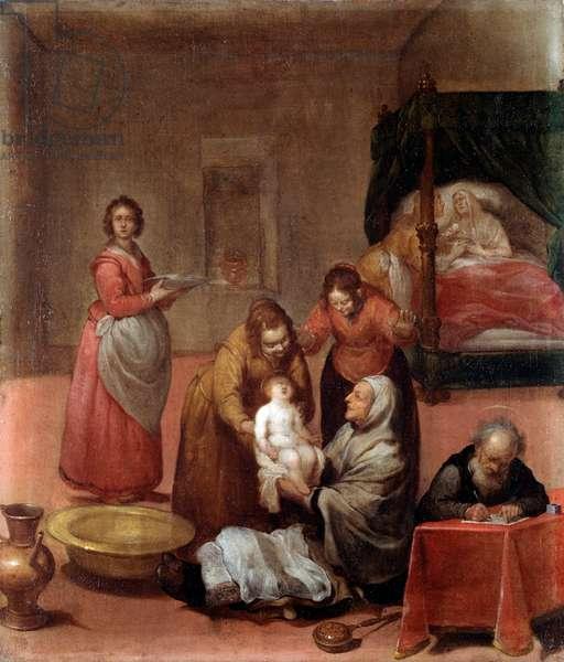 The Birth of John the Baptist Painting by Luciano Borzone (1590-1645) 17th century Musei di Strada Nuova (ex Palazzo Bianco) Genes