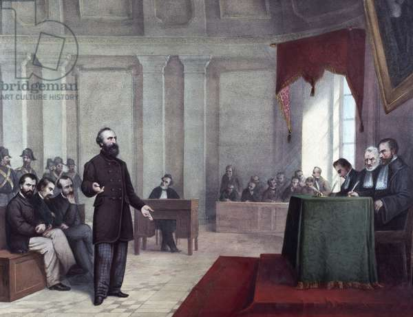 The trial of Felice Orsini (1819 - 1858) who committed the 14 January 1858 attack on Napoleon III. Lithograph from the end of the 19th century. Milan private collection ©Luisa Ricciarini/Leemage