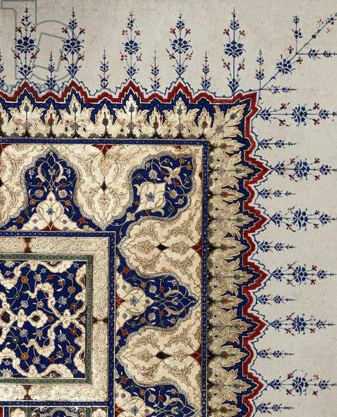 Ottoman art: page detail of codex B 373, miniature. 16th century. Istanbul, Topkapi Sarayi Museum Library