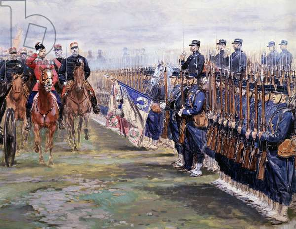 Tsar Nicolas reviews the troops with Felix faure in Chalon-sur-Marne during his visit in France, October 9th, 1896 (Detail watercolour, c.1896)