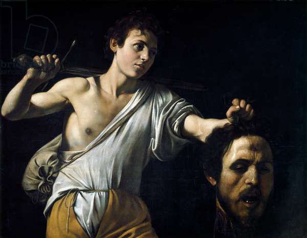 David with the Head of Goliath, (oil on wood) c.1607