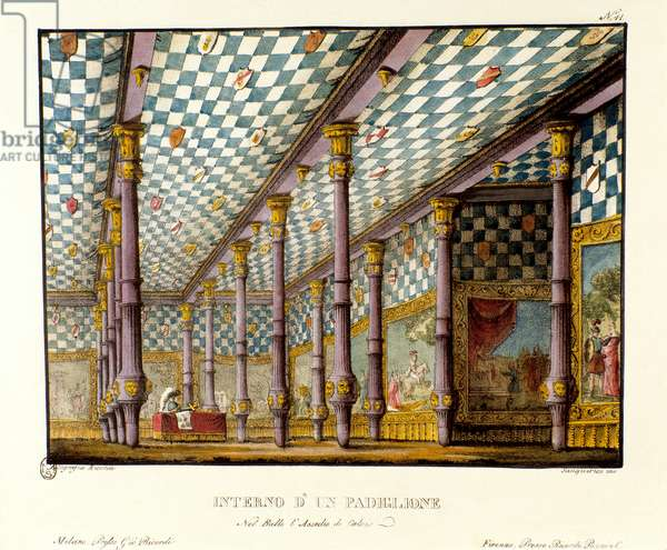 'View of the tent of Edward III, King of England, in 1347 during the Hundred Years War', scenery for the opera 'Assedio di Calais' (The Siege of Calais) by Gaetano Donizetti, 1836 (colour litho)