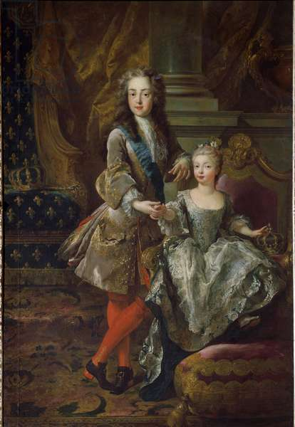 Portrait of King Louis XV (1710-1774) and his fiancee Marie Anne Victoire of Spain (1718-1781), daughter of Philip V of Spain Painting by Jean Francois De Troy (1679-1752) Around 1724 Florence, Palazzo Pitti