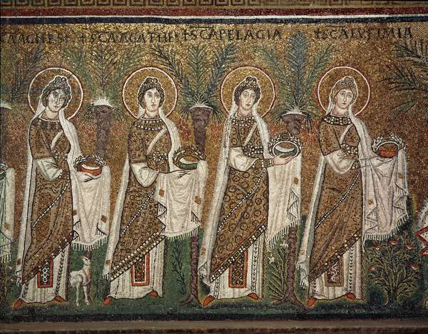 "Byzantine Art: the procession of the virgins - detail of the lateral mosaics of the central nave, 6th century - Basilica of Sant'Apollinare nuovo (Saint Apollinaire the New or Basilica of Saint Apollinaire the New) in Ravenna, Italy - """" procession of virgins"""""" Detail of mosaics, 6th century - Basilica of Sant'Apollinare Nuovo Nuovo Gen"