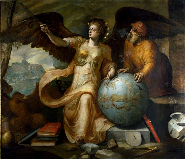 Astrology. Allegory and personification of astrology with astrological instruments and celestial globe. Painting by Frans Floris (1515-1570). Flemish painter. Genes, Private Collection.