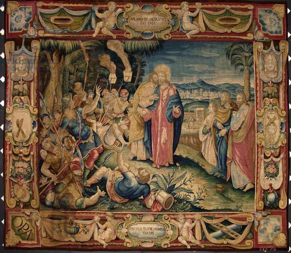 Judas' kiss. Tapestry made in the manufactures of Brussels. 16th century Genes, Musei di Strada Nuova