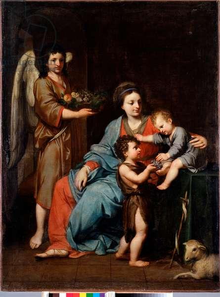 Virgin with child with st John baptist Painting by Reynaud Levieux (1613-1699) 17th century Sun 108x76 cm Genes, Musei di Strada Nuova (ex Palazzo Bianco)