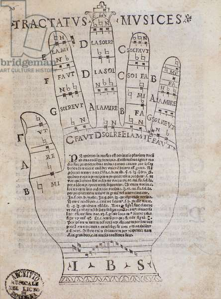 """""""The Guidonian hand"""" Frontispiece from """"Tractatus musices""""."""