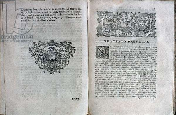 Pages taken from a music treaty by Giuseppe Tartini (1692-1770) Italian composer - Double page from a music treaty by Giuseppe Tartini, italian composer - 1754 - Milan museo del castello